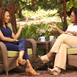 Oprah Winfrey interviews Janet Mock in Montecito, California, May 2015