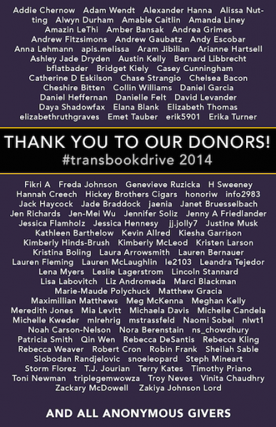 Trans Book Drive Donors