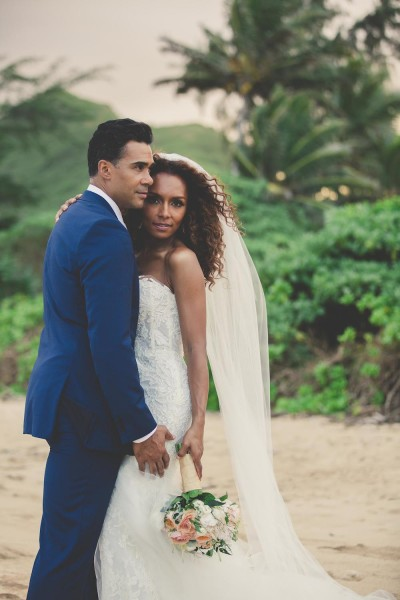Janet Mock marries Aaron Tredwell in Laie, Hawaii, on the North Shore of Oahu on Thursday November 5, 2015.